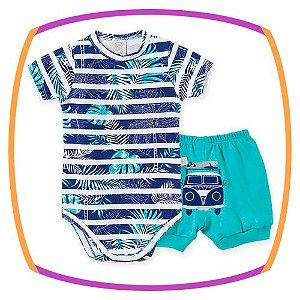 Body  para bebê em suedine manga curta  estampa flores e shorts kombi