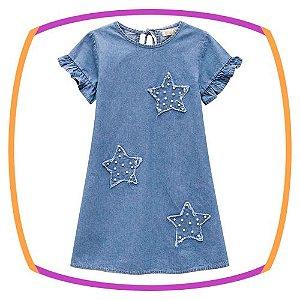 Vestido infantil em jeans com aplique de estrelas
