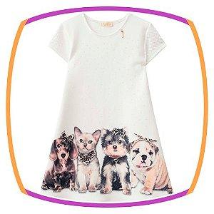 Vestido infantil em jacquard texturizado e fly tech estampa cachorros