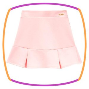 Saia infantil em malha crepe com shorts embutido rosa bebê