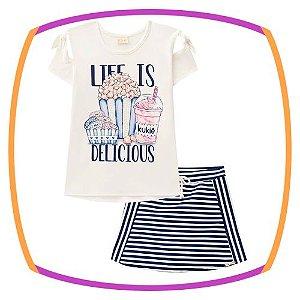 Conjunto infantil blusa em viscolycra PIPOCA e shorts saia em jaquard listrado