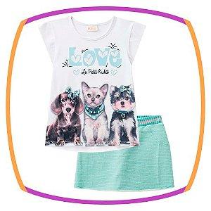 Conjunto infantil blusa em cotton estampa cachorros e shorts saia em moleton com lorex verde