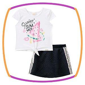 Conjunto infantil blusa Boxy em cotton estampa MELANCIA e shorts saia em jacquard texturizado preto