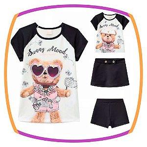 Conjunto infantil Blusa em Viscolycra Estampa Urso de óculos e Shorts Saia em fly tech