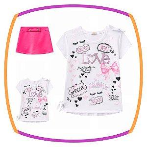 Conjunto infantil Blusa em Cotton estampada - LOVE  e Shorts Saia em fly tech