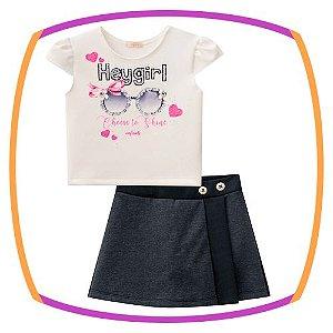 Conjunto infantil Blusa cropped em fly tech  e shorts saia em jacquard dublado
