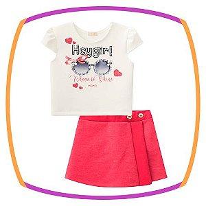 Conjunto infantil Blusa cropped em fly tech Oculos e shorts saia em jacquard dublado