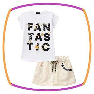 Conjunto infantil blusa em Meia Malha FANTASTIC e shorts em moletom