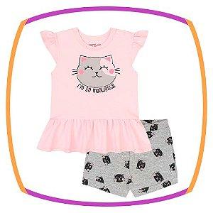 Conjunto para bebê de blusa em cotton GATINHO e shorts em molecotton