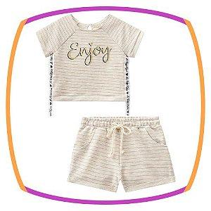 Conjunto infantil blusa boxy e shorts em moleton lorex