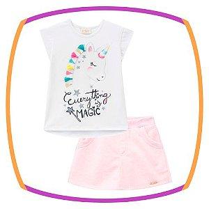 Conjunto infantil blusa UNICORNIO em cotton e shorts saia em moleton linho