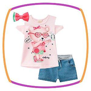 Conjunto infantil de blusa MELANCIA em viscolycra e shorts molecotton jeans + presilha