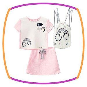 Conjunto infantil blusa Boxy Arco Iris e saia em neoflex e mochila