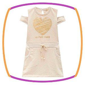 Vestido infantil em moletom linho Coração