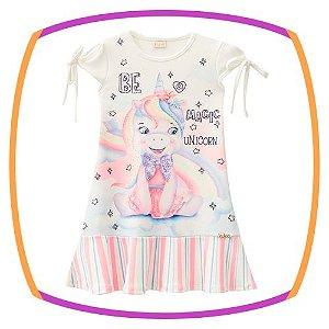Vestido infantil UNICORNIO em malha crepe
