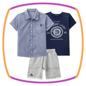Conjunto infantil trio camisa tricoline maquinetado, camiseta meia malha e bermuda de moleton