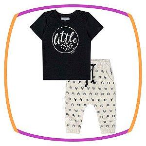 Conjunto para bebê camiseta meia malha LITTLE ONE preta e calça moleton
