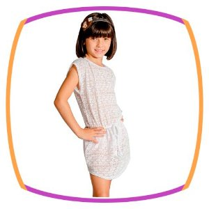 Saída Vestido infantil Renda Branca