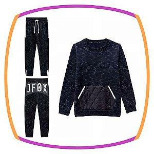Conjunto infantil Moleton  e calça Jogger com pelúcia e detalhe em nylon