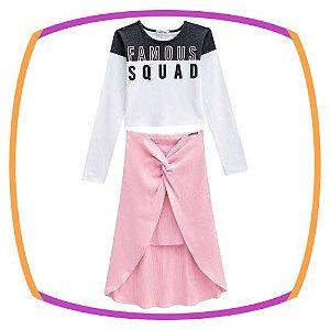 Conjunto infantil Blusa Cropped em cotton e saia midi rosa em malha canelada