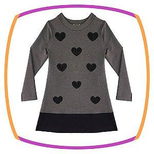 Vestido infantil em malha dublada cinza e preto coração