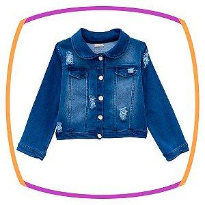 Jaqueta infantil em malha jeans Coração