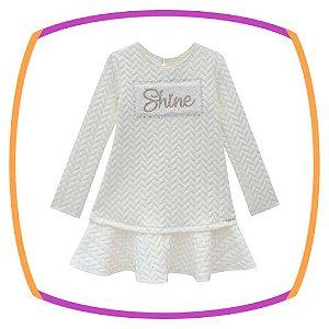 Vestido infantil em malha jacquard Branco (SHINE)