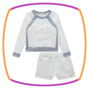 Conjunto infantil Blusão E shorts em malha jacquard branco - LAÇO