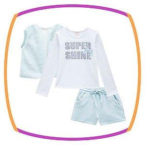 Conjunto infantil blusa em Cotton SUPER SHINE, shorts em molecoton e colete em pelo