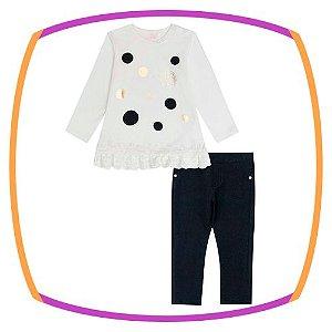 Conjunto para bebê Blusa em Cotton Poa preto e calça em molecotton