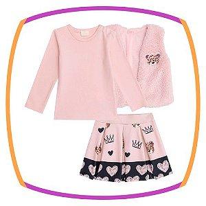 Conjunto para bebê blusa em suedine, saia em molecotton e colete em pelo rosê
