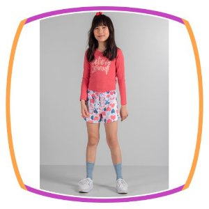 Conjunto infantil blusa em Cotton Believe yourself e shorts em plush