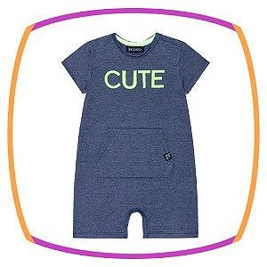 Macacão para bebê em meia malha azul marinho - CUTE