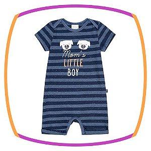 Macacão para bebê em meia malha listrado fio tinto batonê - Little Boy