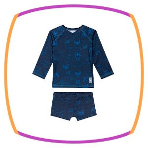 Kit praia infantil  2 peças - Camiseta em malha UV com proteção UV50+ e sunga boxer UV dry com proteção UV 50+ azul marinho