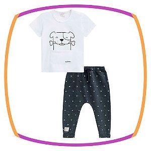 Conjunto para bebê Camiseta meia malha estampa cachorro e calça em moleton
