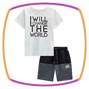 Conjunto infantil Camiseta I WILL CHANGE THE WORLD em meia malha e bermuda de moleton