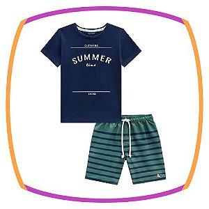 Conjunto infantil camiseta meia malha SUMMER azul marinho e bermuda em nylon listrada