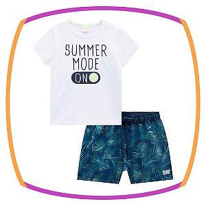 Conjunto para bebê camiseta meia malha SUMMER MODE ON e bermuda em nylon hydronatic com elastano