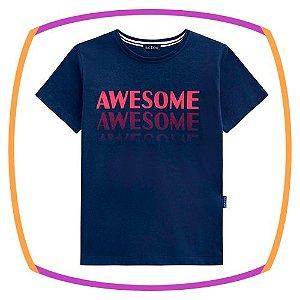 Camiseta Infantil AWASOME azul marinho