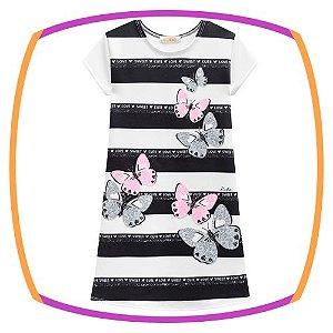 Vestido infantil em Fly Tech estampa borboletas e listras preto e branco