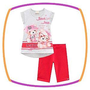Conjunto infantil blusa em cotton estampa Ursos e ciclista em cotton lisa na cor vermelho