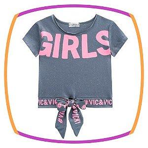 Blusa infantil boxy em meia malha Batonê Neon GIRLS na cor cinza