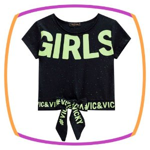 Blusa infantil boxy em meia malha Batonê Neon GIRLS na cor preta