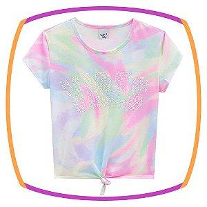 Blusa infantil Boxy em poli light estampado tie dye