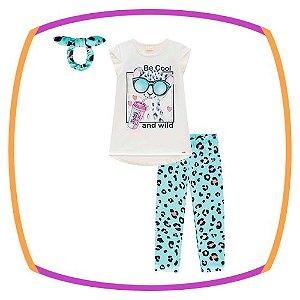 Conjunto infantil blusa em cotton estampa GATO e capri em cycling estampada verde - acompanha scrunhie