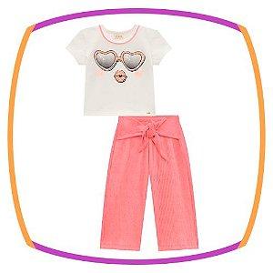 Conjunto infantil Boxy em cotton estampa óculos e pantacourt em ribana canelada na cor laranja