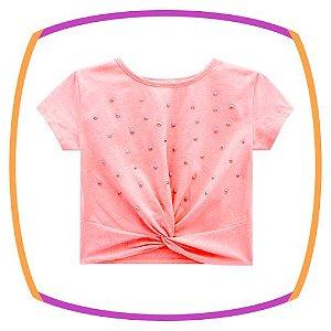 Blusa infantil BOXY em meia malha rosa neon