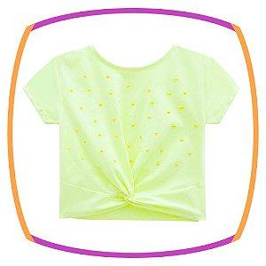 Blusa infantil BOXY em meia malha amarelo neon
