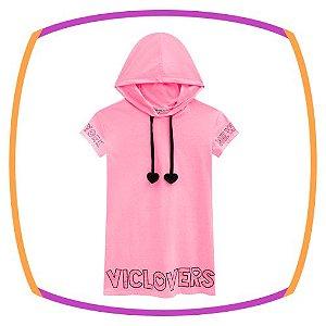 Vestido infantil em meia malha com gorro na cor rosa